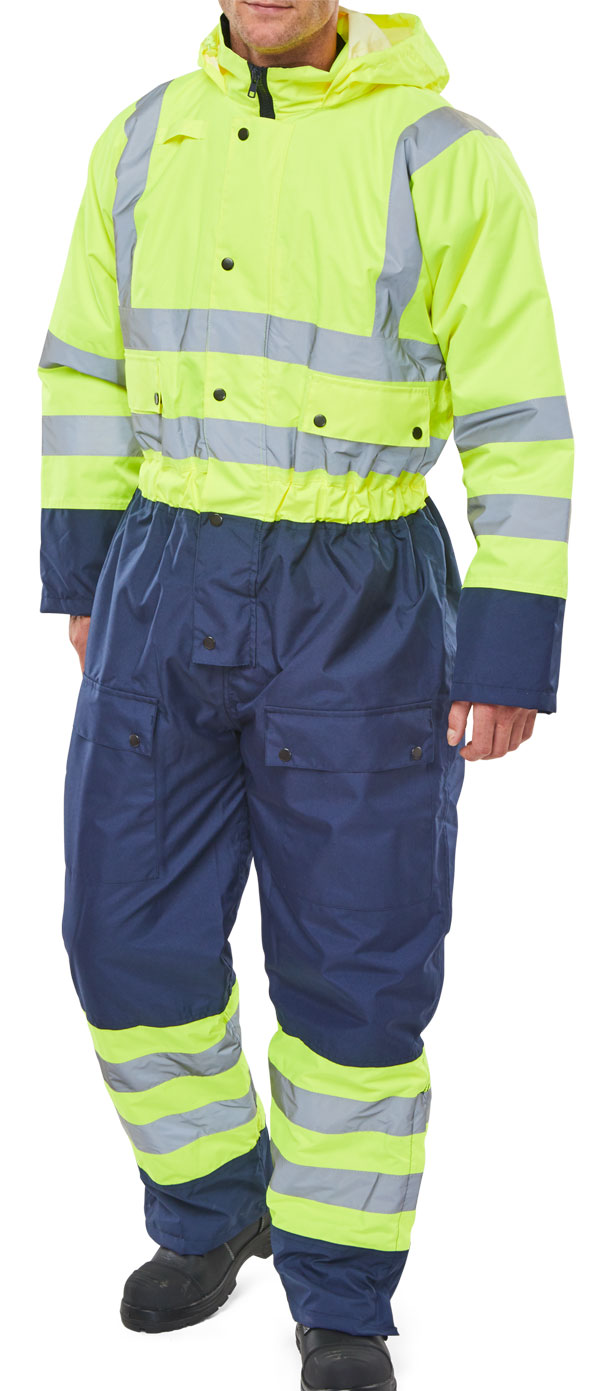 TWO TONE HIVIZ THERMAL WATERPROOF COVERALL - BD900SYN