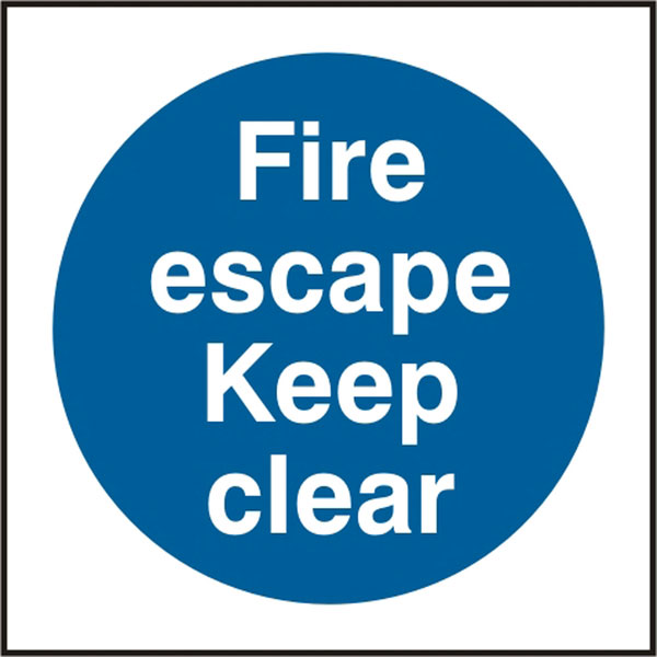 FIRE ESCAPE KEEP CLEAR SIGN - BSS11348