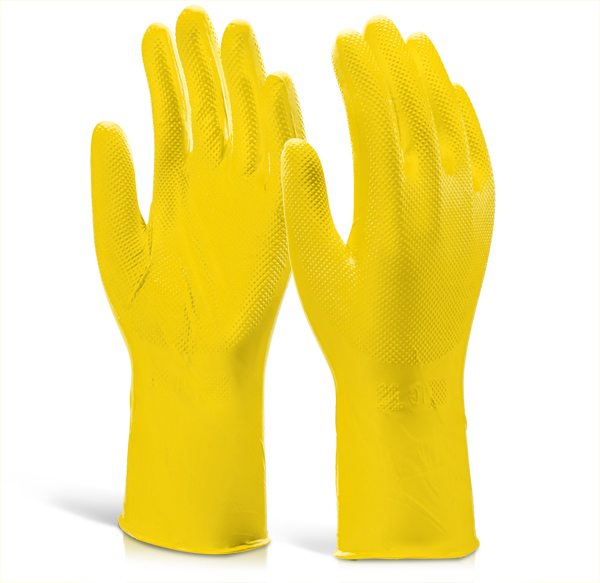 NITRILE DISPOSABLE DIAMOND GRIP GLOVE 30CM - GZNDG15Y