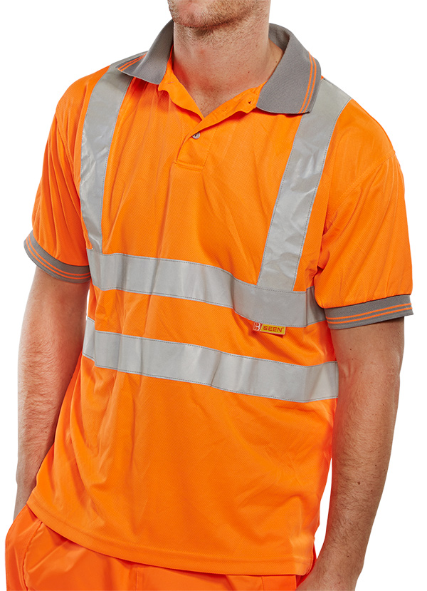 B seen hi vis polo shirt for Hi vis t shirt printing
