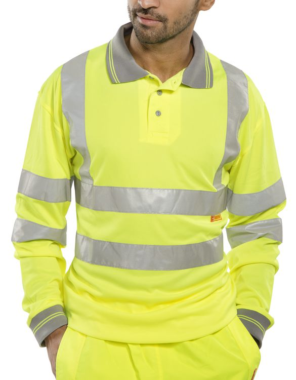 B seen hi vis long sleeve polo shirt for Hi vis t shirt printing