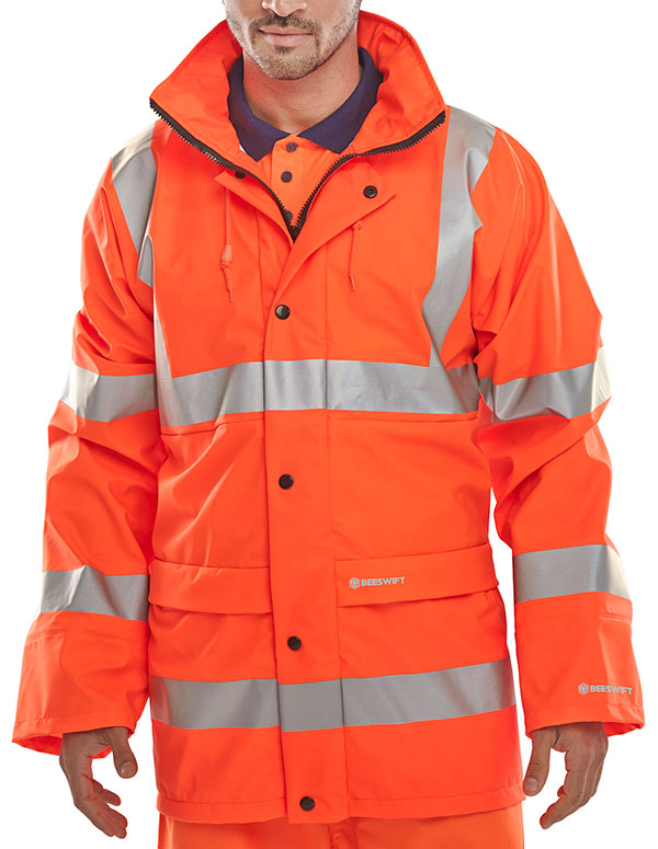 orange, hi, viz, waterproof, jacket, coat, high, visibility, waterproof